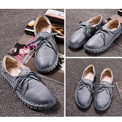 Vogstyle Femme Main Véritable Suture de Voiture en Cuir Chaussures Plates Style-1 Gris clair