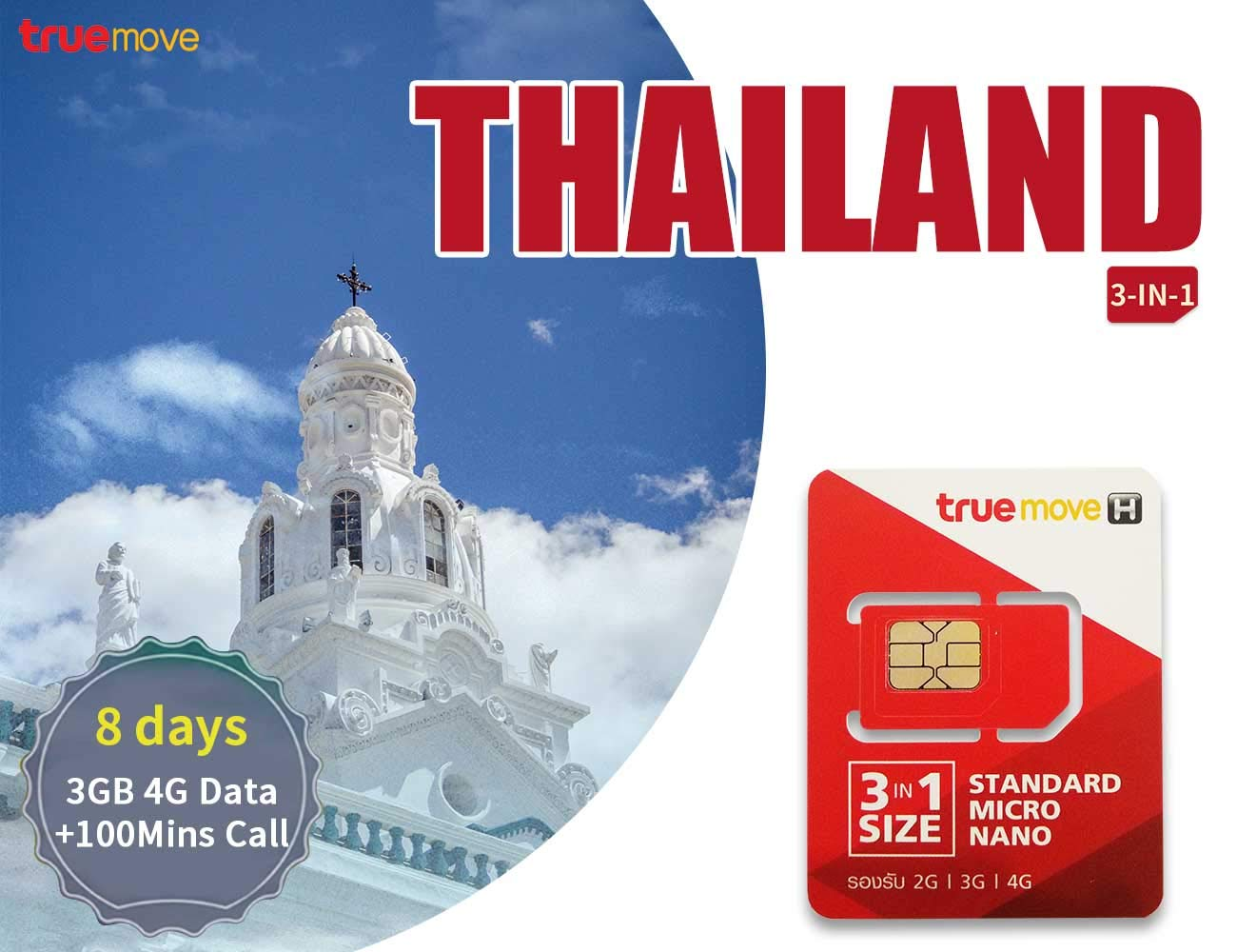 PrePaid Travel Thailand Sim Card – 3GB 4G Data+100 Mins Call 8 Days with Triple Size(standard, Micro and Nano)
