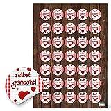 35 Stück SELBST-GEMACHT Aufkleber 3 cm rot weiß kariert HERZ handgemacht Geschenkaufkleber Sticker selbstklebende Etiketten Pralinen Gebäck Basteln Verpackung give-away Gastgeschenk Geschenke