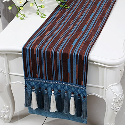 BSNOWF-Chemin de table Table Table Chenille Stripe Bed Table Basse Style Européen Classique Simple Table Moderne Tapis ( Couleur : Flat angle. , taille : 33*200cm )
