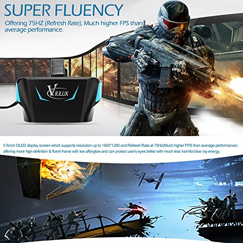 docooler Vialux V1 VR Kopfhörer Sonnenbrille Virtuelle Realität Anzeigen VR Spiel 3D Movie 1080P Display 5,5 Inch OLED head-mounted W/USB-Kabel HDMI für Laptop