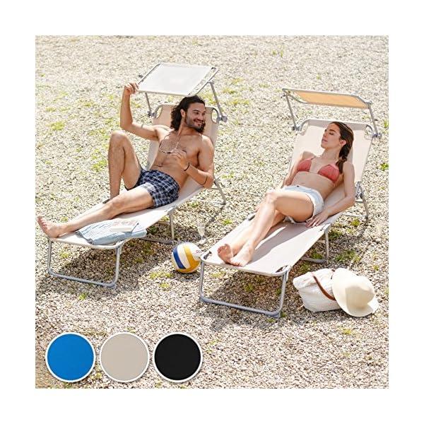 TecTake Lettino a sdraio per prendere il sole con lombrello parasole 190cm Beige disponibile in diversi colori