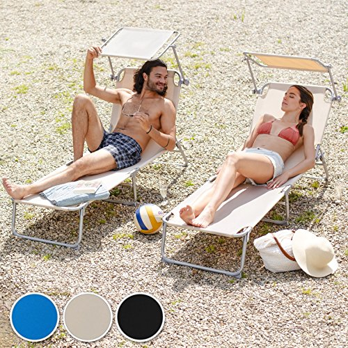 TecTake Gartenliege Sonnenliege (Blau) - 5