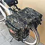 prom-note doppelt hinten Gepäckträger Fahrrad Tasche vergrößertes Mountain Bike Camo Tasche 35L MTB Mountain Bike Rack Satteltasche Multifunktions Road Fahrrad Gepäckträger hinten Sitz Trunk Bag, grün