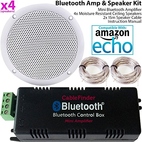 Smart Home Bluetooth Verstärker & 4x unempfindlich gegen Feuchtigkeit Deckenlautsprecher Kit-Kompakte HiFi Mini/Micro Amp-Badezimmer/Küche Audio Musik Player System-Cablefinder -