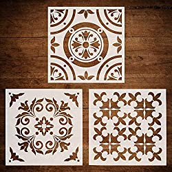 CODOHI 3 Packs Wall Tiles Stencils(12x12 Inch) Laser Cut Resuable Stencils for Floor Furniture Painting DIY Art Home Decor- Moroccan Patterns (Style 2)