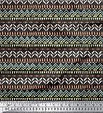 Soimoi Gris rayo de crepé Tela tienda tribal estampada de tela por metro 46 Pulgadas de ancho
