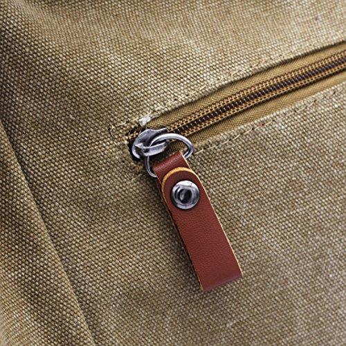 ZENTEII Borsa Da Donna A Tracolla Con Grande Capienza In Stile Retrò Vintage In Tela Khaki