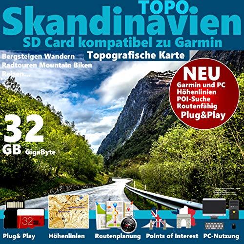 ★SKANDINAVIEN (Schweden Norwegen Finnland) GPS Karte microSD für Garmin Navi, PC und MAC ★