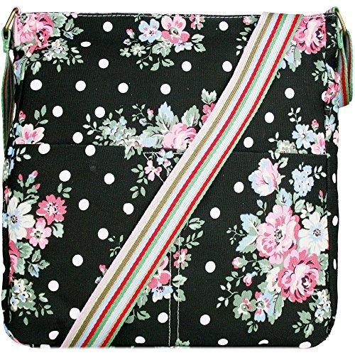 Miss Lulu Borsa messenger borsa da donna borsetta da donna bolse a tracolla borsa da scuola per ragazza L1104F Nero
