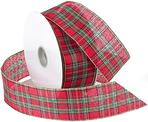 Morex Band Festival Draht Plaid Stoff Band, 2-1/2 Zoll von 50-Yard Spule, rot -