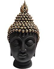 Heeran Art Polyresin Buddha Head Figurine (10.5 Cm X 7 Cm X 13 Cm, Glb)