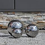CLGarden Lot de 3boules en acier inoxydable de 15cm, 20cm et 25cm Acier V2A Pour décoration de jardin