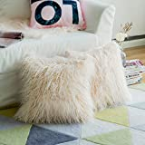 Pack of 2, Miulee Soft Solid Decorative Square Fur Throw Pillow Covers Cushion Case For Sofa Bedroom Car 18 * 18 Inch (45 x 45 cm pink)