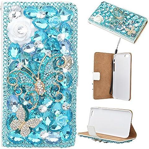 Farfalla-strass floreale evtech toomly cristallo glitter-libro-art-FOLIO-PU-cuoio-finta-scatola con borsa numerva multidock & slot carte di credito