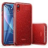 ESR Coque pour iPhone XR 2018 Rouge, Coque Silicone Paillette Strass Brillante Bling Bling Glitter de pour Apple iPhone XR (2018) 6,1 Pouces (Série Glamour, Rouge Pailleté)