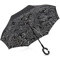 Plegable, invertido, paraguas -Doble capa invertida Paraguas del coche - Prueba a prueba de viento y UV Paraguas de viaje con Manija en forma de C - Dracarys