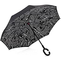 Plegable, invertido, paraguas -Doble capa invertida Paraguas del coche - Prueba a prueba