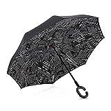 Ombrello pieghevole invertito - Double Layer invertito Ombrello auto- A prova di vento e protezione UV Umbrella di viaggio con Maniglia a forma di C - Dracarys