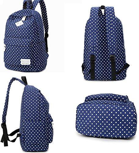 MAIBU Beiläufige Segeltuch -Schule-Rucksack-Laptop-Beutel-Schulter-Beutel-Rucksack-Reisen Daypack Dot-tiefes Blau