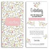 (30 x) Einladungskarten Geburtstag Blumen Pink Rosa Eintrittskarte Einladungen