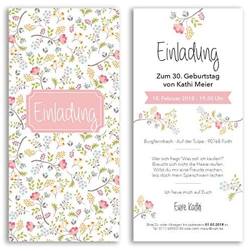 (40 x) Einladungskarten Geburtstag Blumen Pink Rosa Eintrittskarte Einladungen