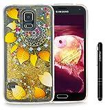 Slynmax Galaxy S5 Hülle Durchsichtig TPU Glitzer Liquid Case Silikon Schutzhülle für Samsung Galaxy S5 / S5 Neo Bumper Handyhülle Tasche Dual-Layer Treibsand Shell(Gold)