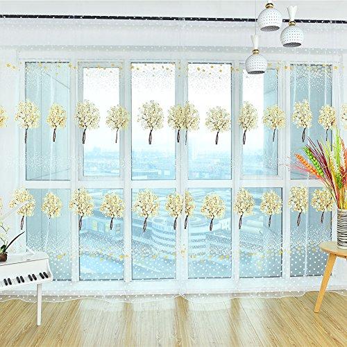 3-panel-bildschirm Zimmer (prelikes Baum Tree Blume Flower Rod Pocket Fenster Behandlung/Voile/Tüll/Drapes Balkon Sheer Vorhänge, Tüll, gelb, 100cm x 200cm)