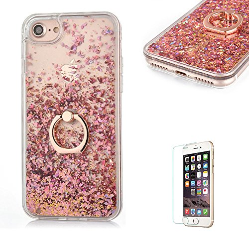 Galleria fotografica Custodia per iphone 6 Plus/6S Plus Cover Rigida Plastica Dura,Funyye con[ Anello Supporto ] Brillantini Glitter Muovono Liquida Paillettes Sequin Flowing Quicksand 3D Creative Disegno Trasparente Protettivo Caso Copertura + Pellicola Protettiva Per Apple iphone 6 Plus/6S Plus Head Case Shine Bling Liquid Shell Bumper - Oro Rosa
