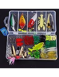 Aorace 79pcs pesca señuelos conjuntos incluidos Minnow Popper metal duro señuelo VIB traqueteo señuelos blandos camarones cebos VIB cuchara rana pesca ganchos cabeza de jig y otros artes de pesca con libre Tackle Box