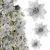 Kbnian 24 Pezzi Fiori per Albero di Natale Decorazioni Albero di Natale Poinsettia Fiore Decorazione Artificiale Glitter Argento Fiore Artificiale Fiori di Albero di Natale 14cm/10cm/8cm (Argento)