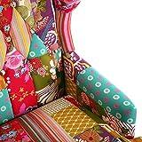 Poltrona stile patchwork multicolore. Dimensioni: 62x 79x 103cm