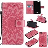 COZY HUT For Wiko Slide Case [Pink], PU Leather Sunflower