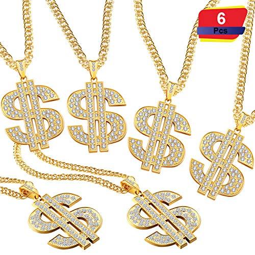 2 Stücke Hip Hop Gold Kette 32 Zoll Große Klobige Kette für Männer, Faux Gold Kette Halskette für Kostüm Schmuck Rapper Punk Stil (Dollar Halskette 6 Stücke)