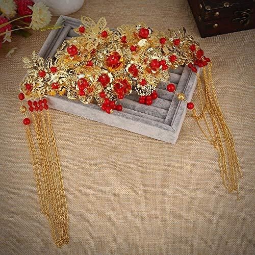 Littlefairy Braut Haarschmuck Braut-Stream Su FA Kamm Rote Chinesische Braut Kopfschmuck Kostüm Kleid Ornament (Prinzessin Braut Ein Rotes Kleid Kostüm)