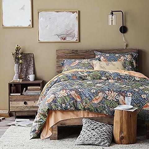 memorecool Rouge rurales style 60's fils Satin Parure de lit 4pièces Home Textiles en coton égyptien avec housse de couette et drap plat Taille Complète, Coton, Green, Entier