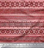 Soimoi Orange Viskose Chiffon Stoff aztekisch geometrisch
