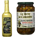 Le Terre di Colombo – 100 Percent Italian Extra Virgin Olive Oil, Gold-Wrapped Bottle, 0.75 L + Pitted Riviera Olives in…