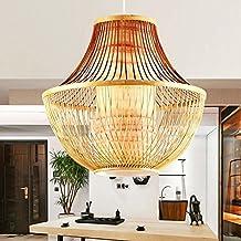 QiangDa Pastorales Lámparas mesa de mimbre de la vendimia de madera de bambú de la decoración de la lámpara Iluminación colgante