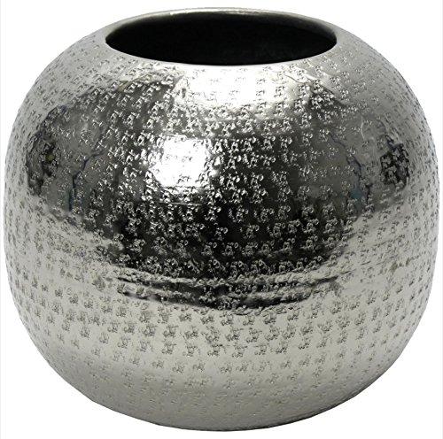 Vase Hammerschlag Aluminium gehämmert vernickelt Rund Kugelvase Silber