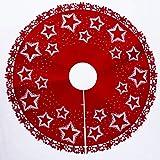 Sunshier Casa 100 Centimetri Albero di Natale Gonna Albero di Natale Decorato Stella Stampata con Copertura dell'albero Rotondo Assetto di Base per Festa di Natale