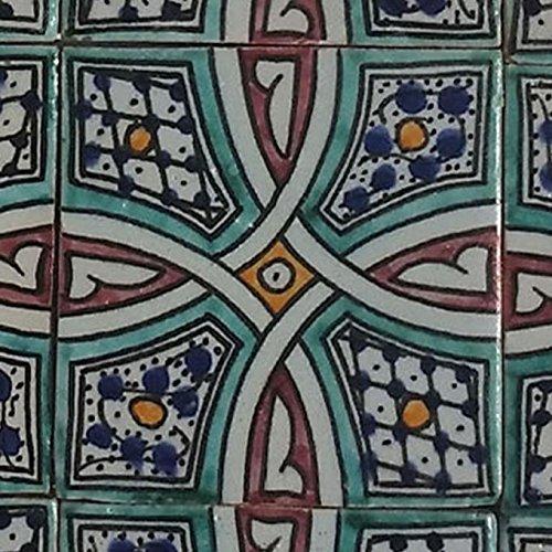 Orientalische Keramik Fliesen handbemalte marokkanische Motiv Fliese LUNA 10 x 10 cm