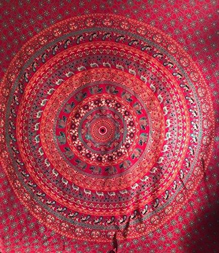 Single rot grün Umrao Hippie Mandala Tapisserie indischen Wandbehang Tagesdecke Bohemian Gypsy Überwurf Bohemian Wohnheim Deco 100% Baumwolle Twin 203,2x 137,2cm -