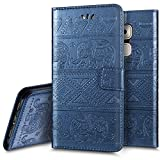 Huawei Nova Plus Hülle, Ukayfe Lederhülle Leder Tasche Case Cover für Huawei Nova Plus Handyhülle im Buchstyle,Prägung Elefant Muster Premium Kunstleder Tasche Flip Wallet Case mit Standfunktion Karteneinschub und Magnetverschluß Etui Schutz Hülle für Huawei Nova Plus (Blau)