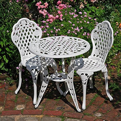 Lazy Susan Furniture - Rose Metal Garden Bistro White and two chair Set White
