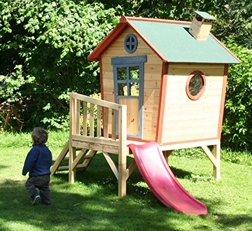 Redwood Tower Childrens Painted Wooden Playhouse Crooked Garden