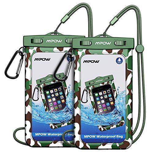 Mpow Wasserdichte Handyhülle, IPX 8 wasserdichte Handytasche mit Camping / Angeln / Wandern Karabiner und Lanyard für iPhone, Google Pixel, HTC, LG, Huawei, Sony, Nokia