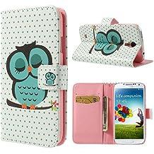 Samsung Galaxy S4 Funda Libro de NICA, Carcasa con Tapa Ultra-Fina Flip-Case Cover, Cubierta Cuero Sintético Vegan Protectora Bumper para Telefono Movil Samsung S4 - Owls Green Edition