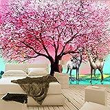 3D Wandbilder Tapete Europäischen Stil Ölgemälde Rosa Big Tree Elch Wohnzimmer Sofa Schlafzimmer Hintergrund Wanddekor Wandbild Dekoration (W)250X(H)175Cm