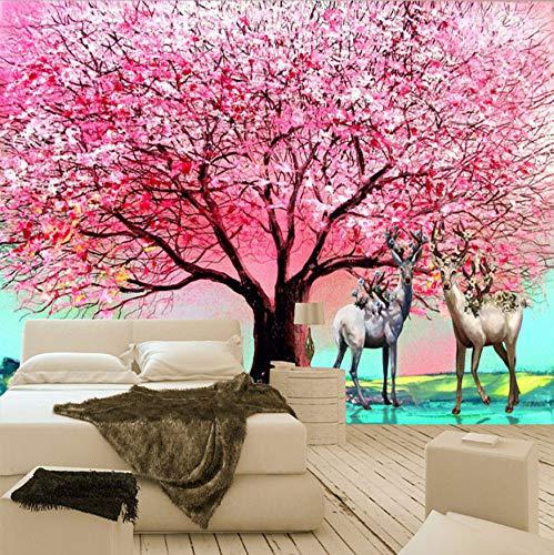 3D Wandbilder Tapete Europäischen Stil Ölgemälde Rosa Big Tree Elch Wohnzimmer Sofa Schlafzimmer Hintergrund Wanddekor Wandbild Dekoration